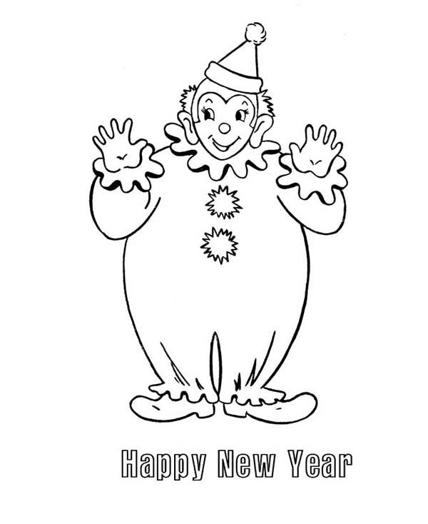 Clown, : Happy New Year Clown Coloring Page
