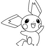 Pichu, Happy Pichu Jumping Around Coloring Page: Happy Pichu Jumping Around Coloring Page