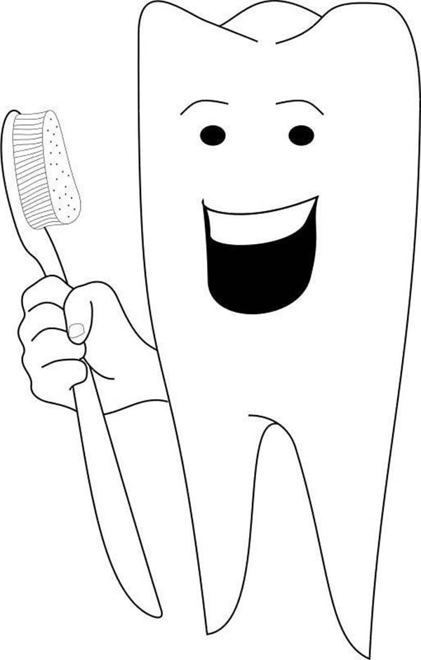 Dental Health, : Happy Tooth in Dental Health Coloring Page