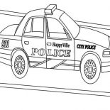 Police Car, Happy Ville Police Car Coloring Page: Happy Ville Police Car Coloring Page