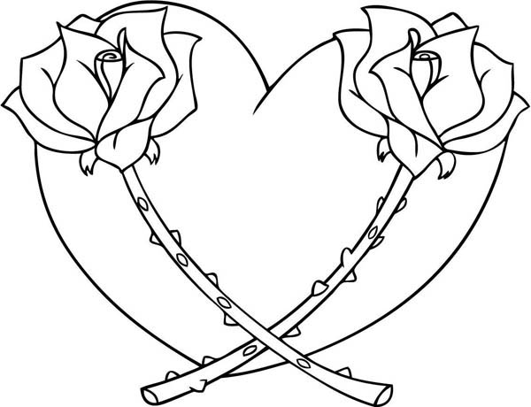 Hearts & Roses, : Hearts and Roses Full of Thorn Coloring Page