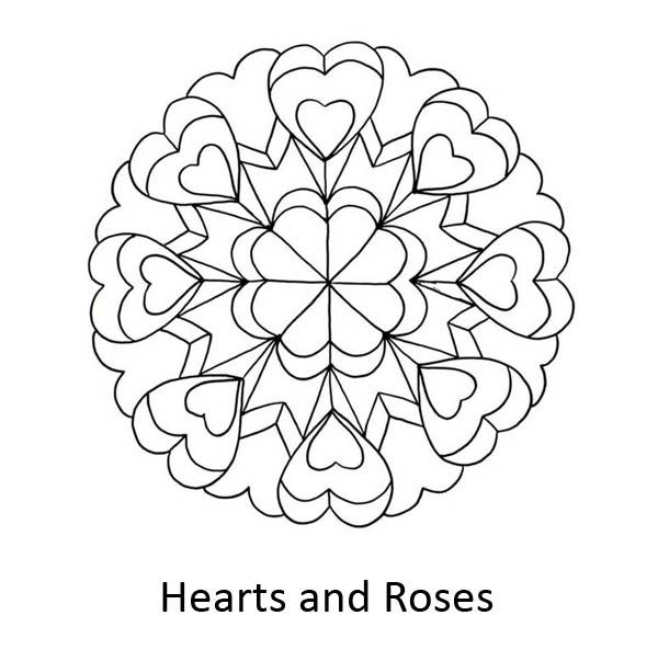 hearts and roses mandala coloring page color luna. Black Bedroom Furniture Sets. Home Design Ideas