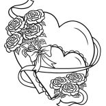 Hearts & Roses, Hearts And Roses Tied With Ribbon Coloring Page: Hearts and Roses Tied with Ribbon Coloring Page