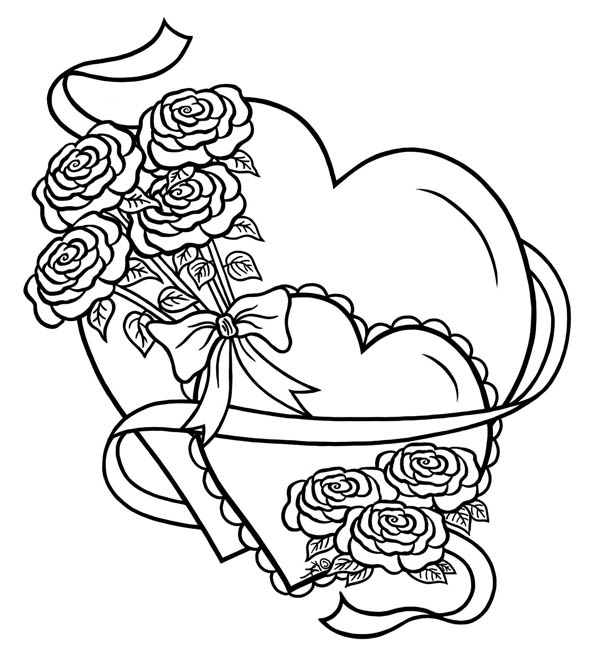 Hearts And Roses Tied With Ribbon Coloring Page Color Luna