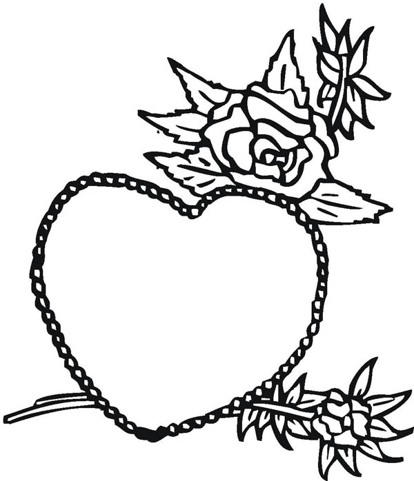 Hearts & Roses, : Hearts and Roses for My Beautiful Wife Coloring Page