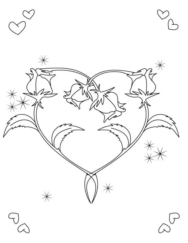 Hearts & Roses, : Hearts and Roses for the Love One Coloring Page