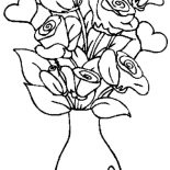 Hearts & Roses, Hearts And Roses In The Vase Coloring Page: Hearts and Roses in the Vase Coloring Page