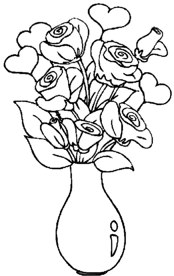 Hearts & Roses, : Hearts and Roses in the Vase Coloring Page