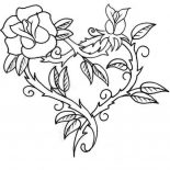 Hearts & Roses, Hearts And Roses With Sharp Thorn Coloring Page: Hearts and Roses with Sharp Thorn Coloring Page