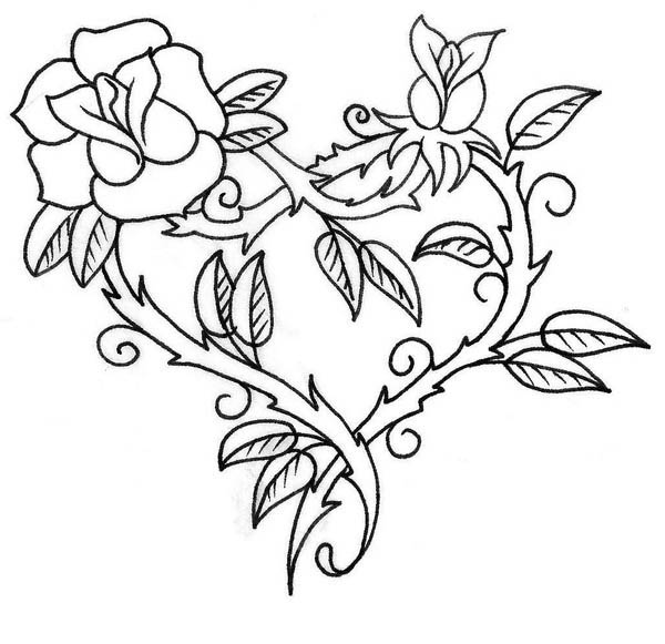 Hearts & Roses, : Hearts and Roses with Sharp Thorn Coloring Page