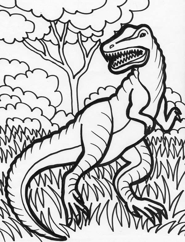 T-Rex, : Hideous T Rex Coloring Page
