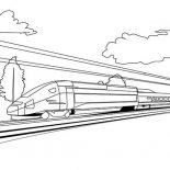 Trains, High Speed Train On Sunny Day Coloring Page: High Speed Train on Sunny Day Coloring Page