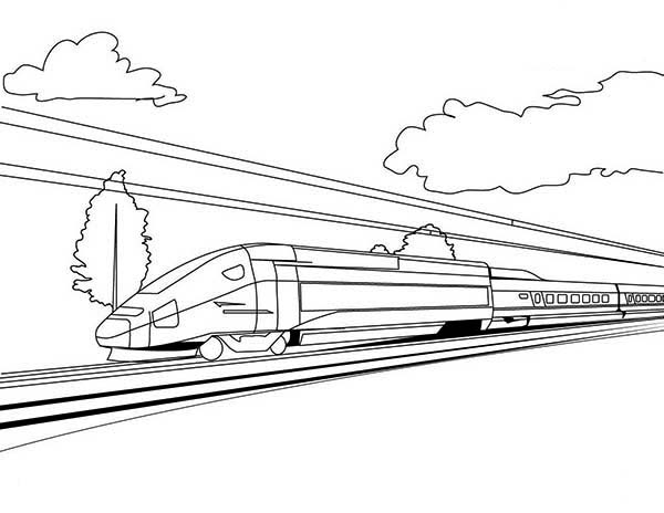 Trains, : High Speed Train on Sunny Day Coloring Page