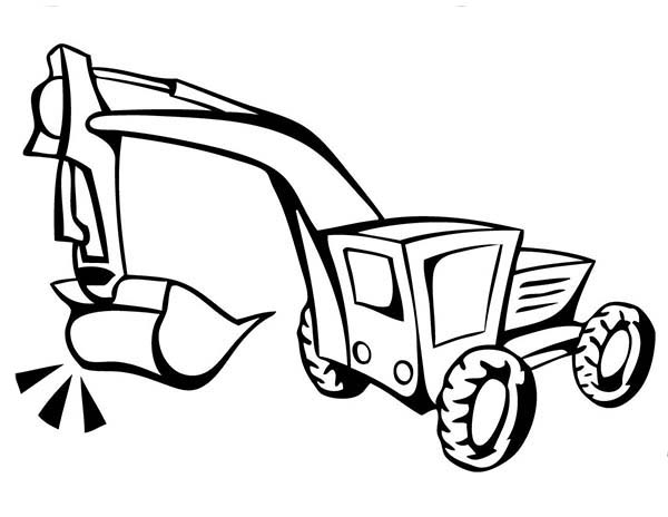 Digger, : How to Draw Excavator in Digger Coloring Page