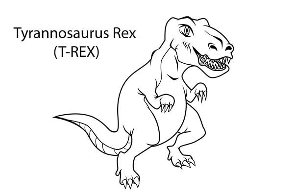 T-Rex, : How to Draw T Rex Coloring Page