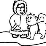 Eskimo, Husky With Little Eskimo Girl Coloring Page: Husky with little Eskimo Girl Coloring Page