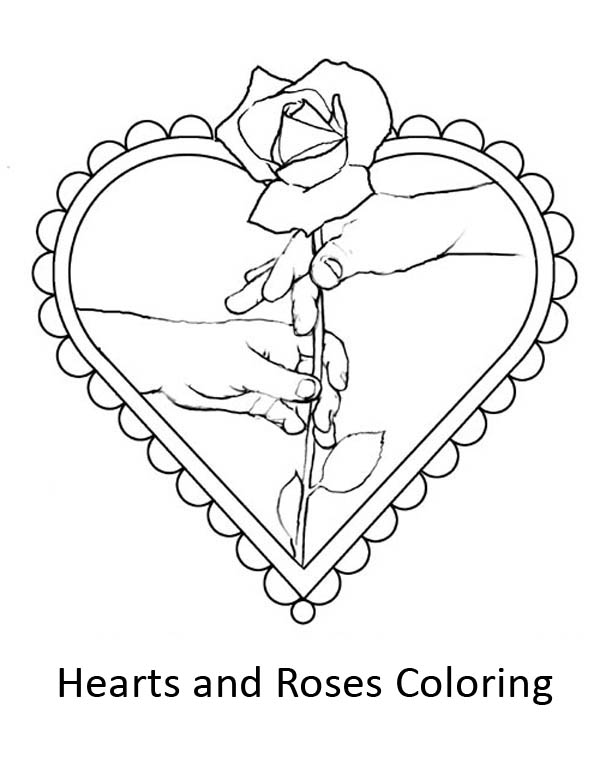Hearts & Roses, : I Give You My Hearts and Roses Coloring Page