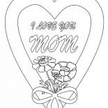 Hearts & Roses, I Love You Mom In Hearts And Roses Coloring Page: I Love You Mom in Hearts and Roses Coloring Page