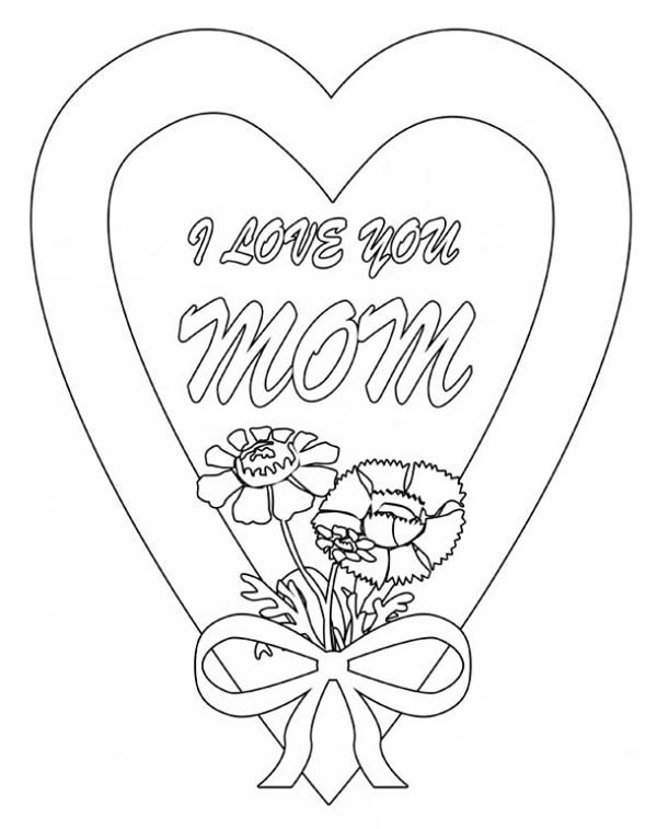 Hearts & Roses, : I Love You Mom in Hearts and Roses Coloring Page