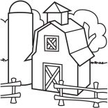 Barn, Image Of Barn And Silo Coloring Page: Image of Barn and Silo Coloring Page