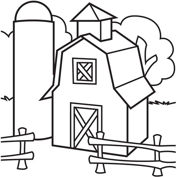 Barn, : Image of Barn and Silo Coloring Page