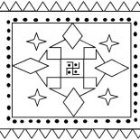Rangoli, Indian Folk Art Rangoli Coloring Page: Indian Folk Art Rangoli Coloring Page
