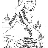 Rangoli, Indian Girl Decorating Rangoli Coloring Page: Indian Girl Decorating Rangoli Coloring Page