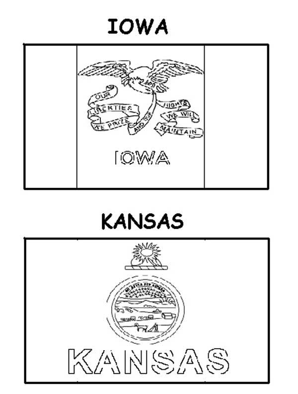 State Flag, : Kansas and Iowa State Flag Coloring Page