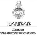 State Flag, Kansas The Sunflower State Flag Coloring Page: Kansas the Sunflower State Flag Coloring Page