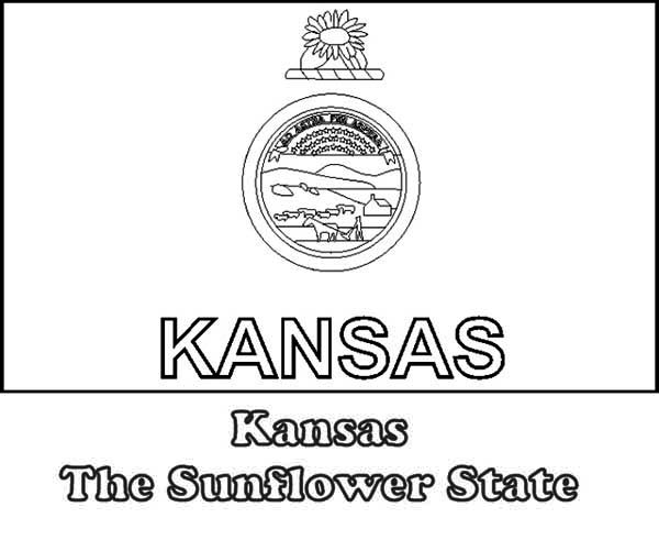 State Flag, : Kansas the Sunflower State Flag Coloring Page