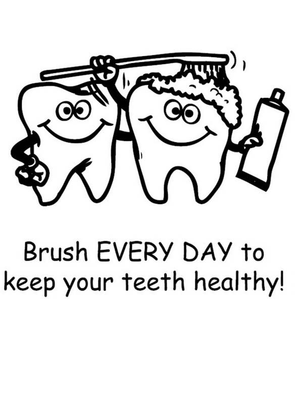 Dental Health, : Keep Your Teeth Healthty in Dental Health Coloring Page