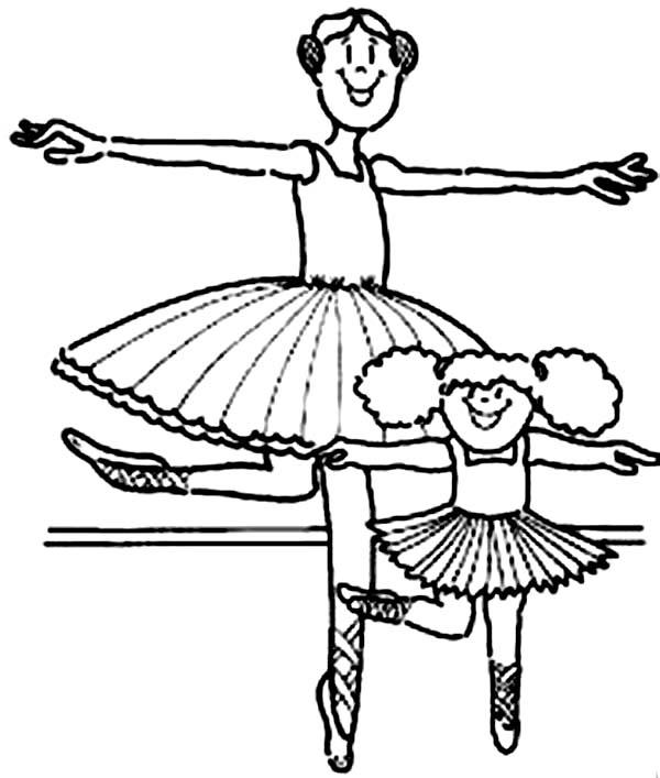 Ballerina, : Kids Drawing of Ballerina Coloring Page