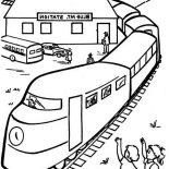 Railroad, Kids Waving At Train Passangers Beside Railroad Coloring Page: Kids Waving at Train Passangers Beside Railroad Coloring Page