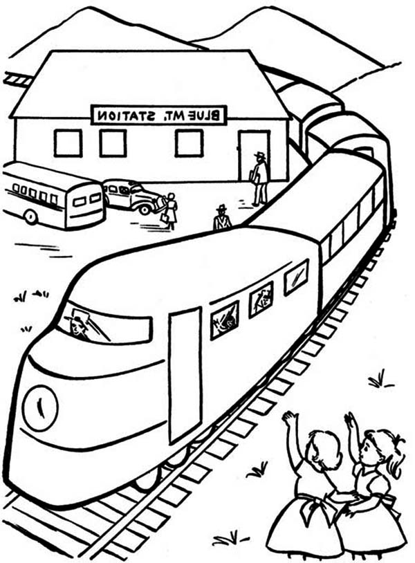 Railroad, : Kids Waving at Train Passangers Beside Railroad Coloring Page
