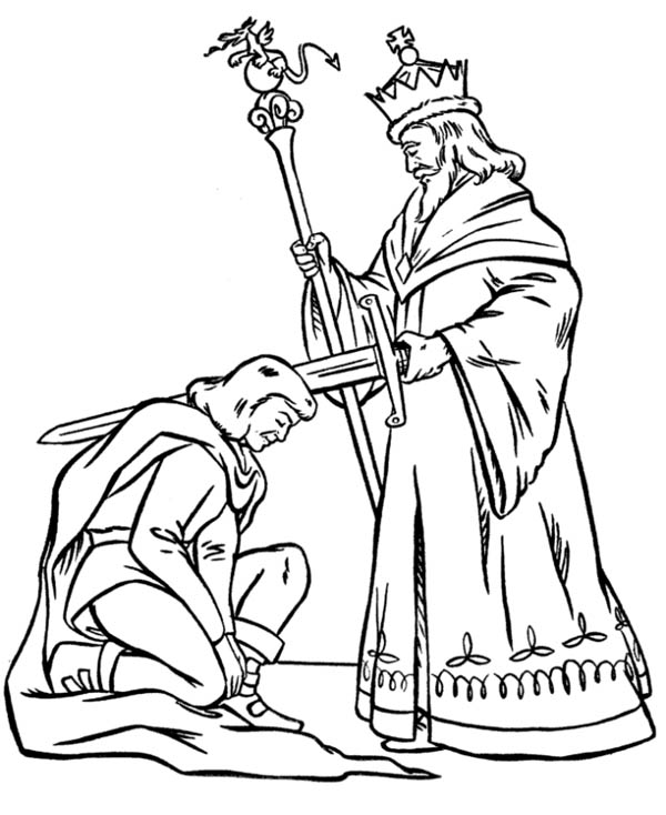 Middle Ages, : King Blessing Knight Before War in Middle Ages Coloring Page