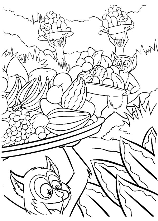 Lemur, : King Julien the King of Lemur Coloring Page