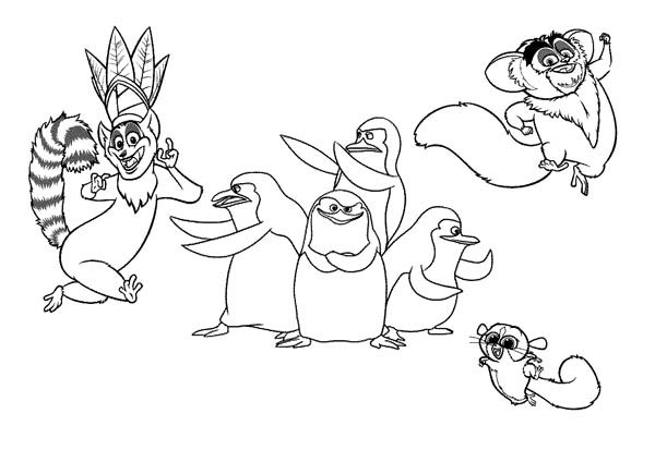 Lemur, : King Julien the King of Lemur in Madagaskar Coloring Page