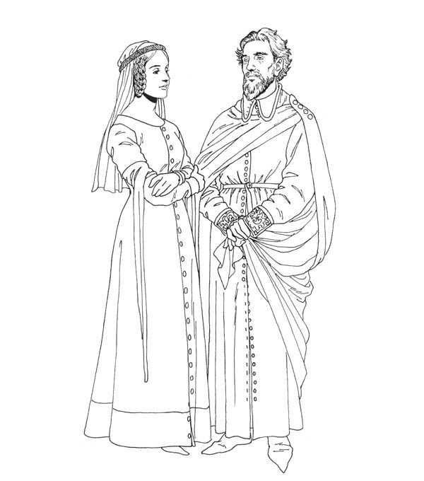 Middle Ages, : King and Queen in Middle Ages Coloring Page