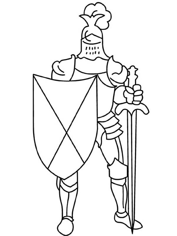Middle Ages, : Knight Armor with Sword and Shield in Middle Ages Coloring Page
