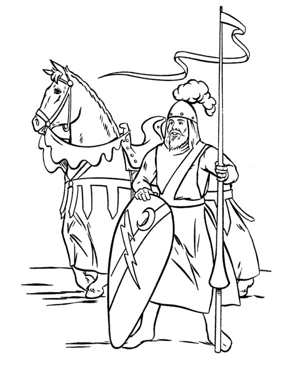 Middle Ages, : Knight Guarding the Border in Middle Ages Coloring Page