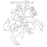 Middle Ages, Knight Rearing O His Horse In Middle Ages Coloring Page: Knight Rearing o His Horse in Middle Ages Coloring Page