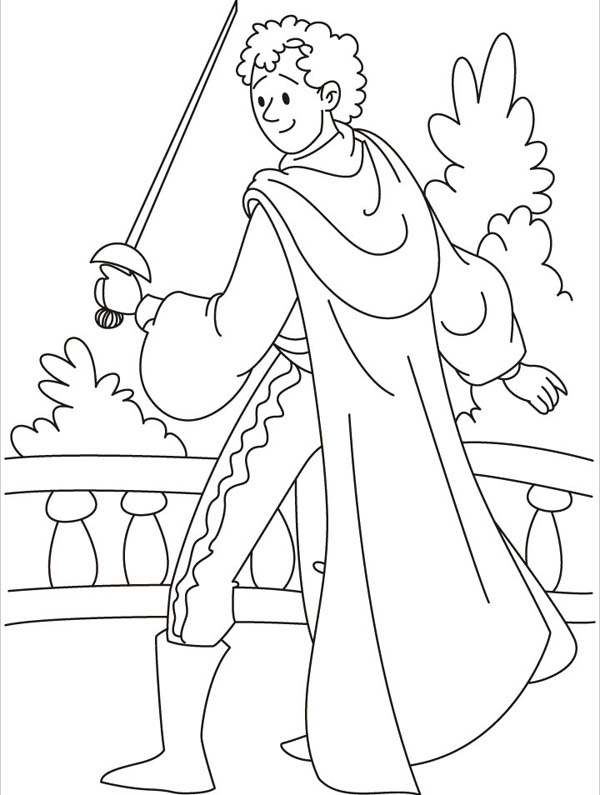 Middle Ages, : Knight with Sword in Middle Ages Coloring Page