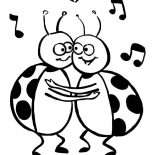 Lady Bug, Lady Bug Dancing Coloring Page: Lady Bug Dancing Coloring Page
