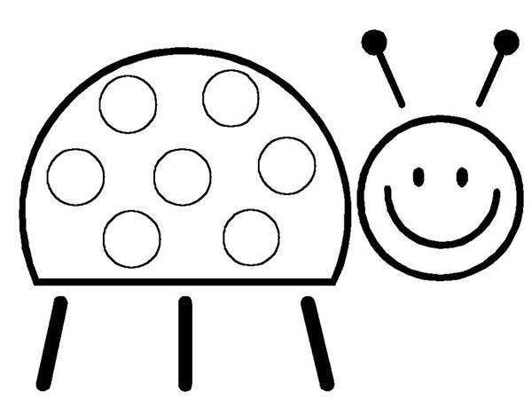 Lady Bug, : Lady Bug Sweet Smile Coloring Page