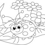 Lady Bug, Lady Bug And Three Beautiful Flower Coloring Page: Lady Bug and Three Beautiful Flower Coloring Page