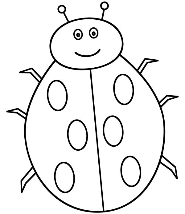 Lady Bug, : Lady Bug is Smiling Coloring Page