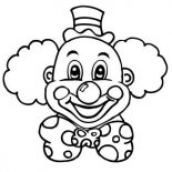 Clown, Laughing Clown Head Coloring Page: Laughing Clown Head Coloring Page