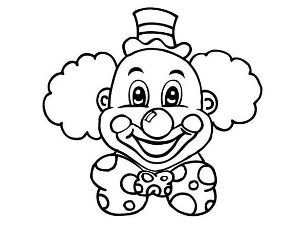 Clown, : Laughing Clown Head Coloring Page