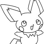 Pichu, Laughing Pichu Coloring Page: Laughing Pichu Coloring Page