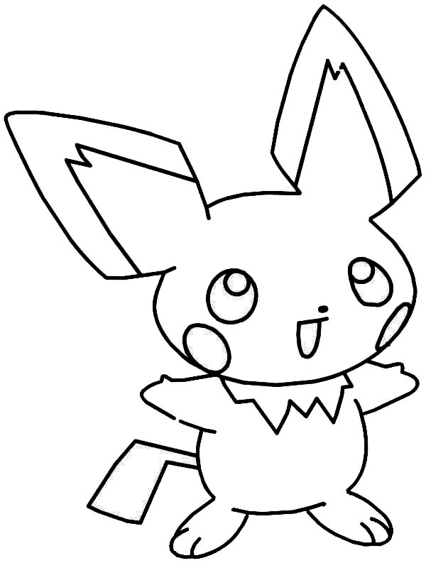 Pichu, : Laughing Pichu Coloring Page